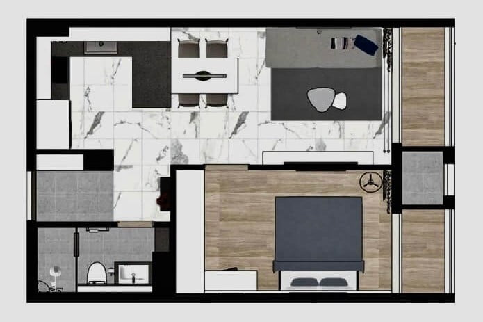 Mặt bằng thiết kế căn hộ 1PN Raemian City