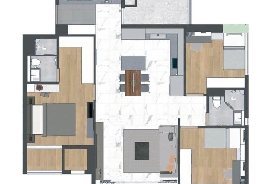 Mặt bằng thiết kế căn hộ 3PN Raemian City