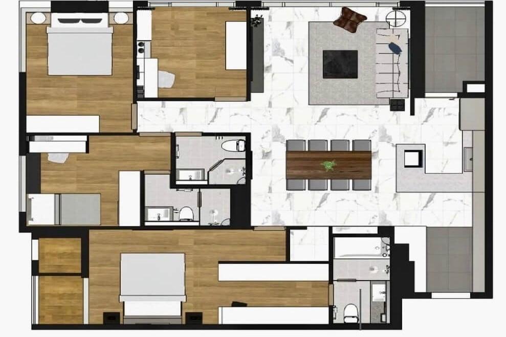 Mặt bằng thiết kế căn hộ 4PN Raemian City