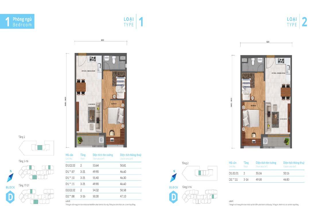 Mặt bằng thiết kế căn hộ Safira Khang Điền 1PN