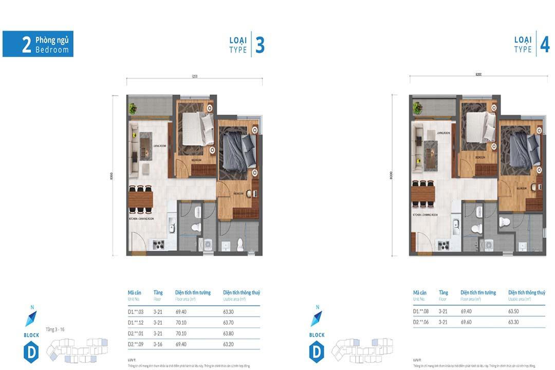 Mặt bằng thiết kế căn hộ Safira Khang Điền 2PN