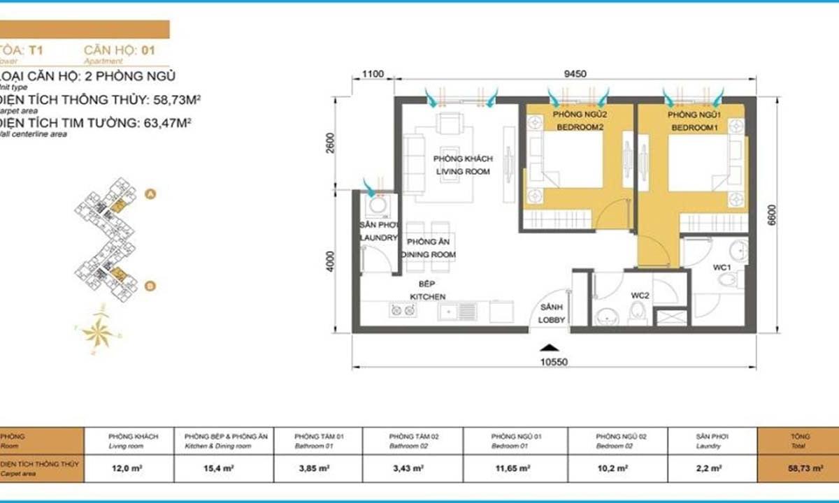 Mặt bằng căn hộ Masteri Thảo Điền 1PN