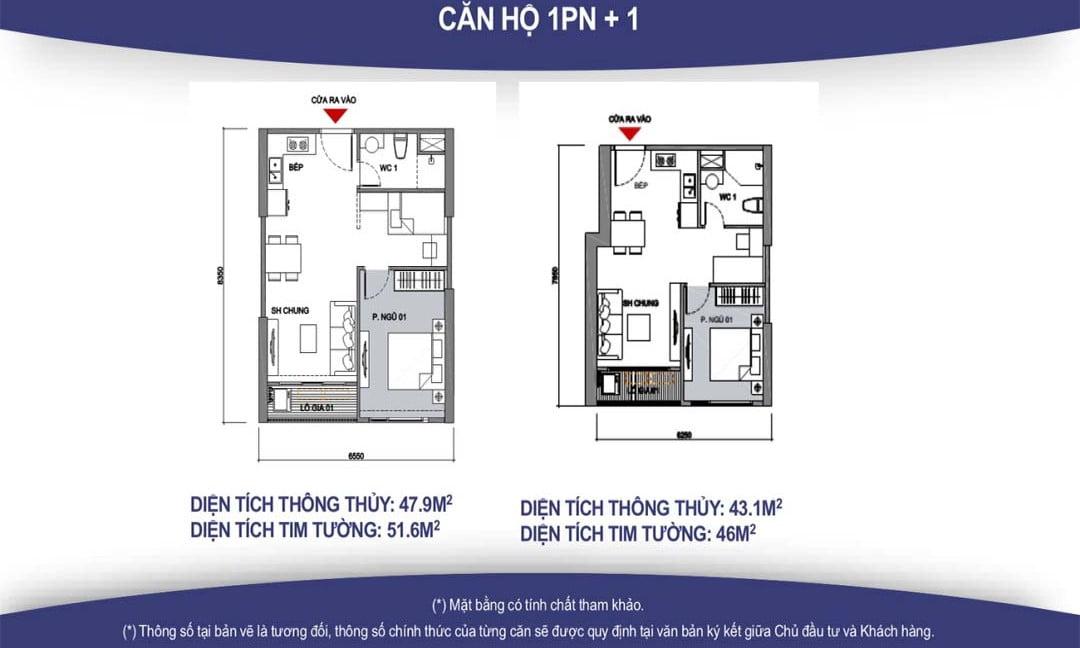 mặt bằng thiết kế căn hộ 1PN + 1 vincity quận 9