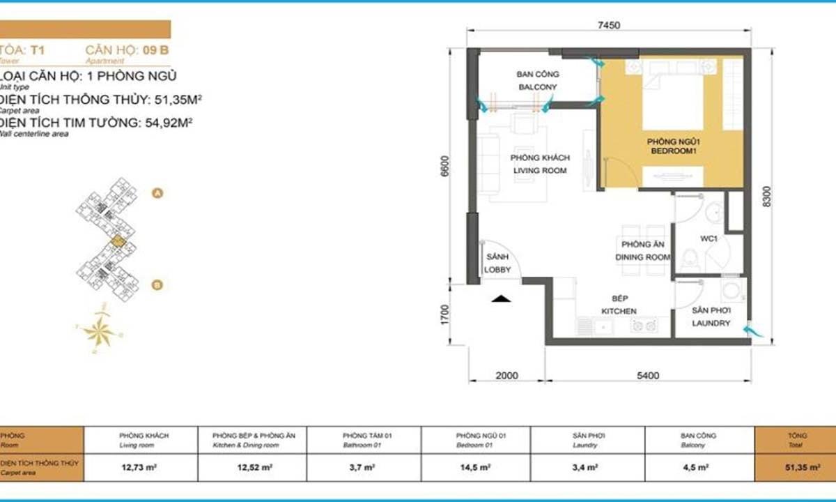Mặt bằng căn hộ Masteri Thảo Điền 2PN