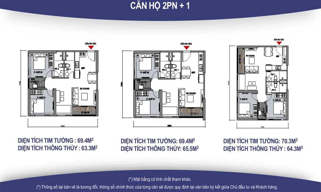 mặt bằng thiết kế căn hộ 2PN + 1 vincity quận 9