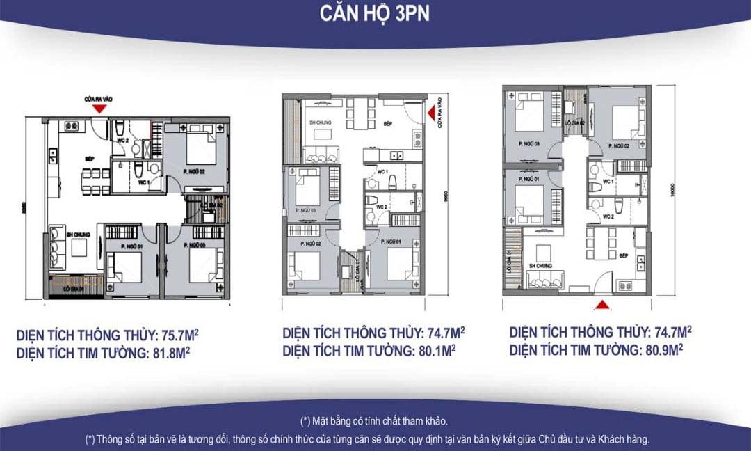 mặt bằng thiết kế căn hộ 3PN vincity quận 9