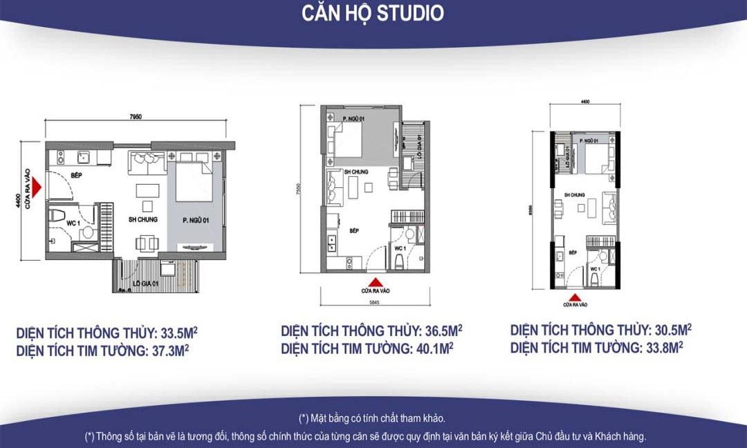 mặt bằng thiết kế căn hộ Studio vincity quận 9